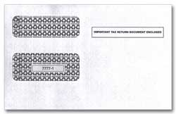 DEL91568  W-2 or 1099 Double Window Envelope for Blank 2-Up Laser Forms