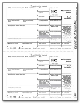 TF5111  1099 Miscellaneous Income B Recipient Copy Laser Form