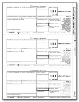 TF5121  1099 Interest Income Recipient Copy B Laser Form