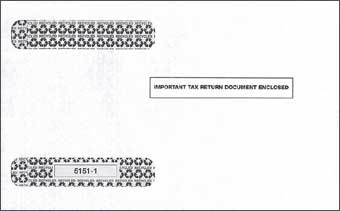 TF51511  4-Up Horizontal Laser W-2 Double Window Tax Envelope